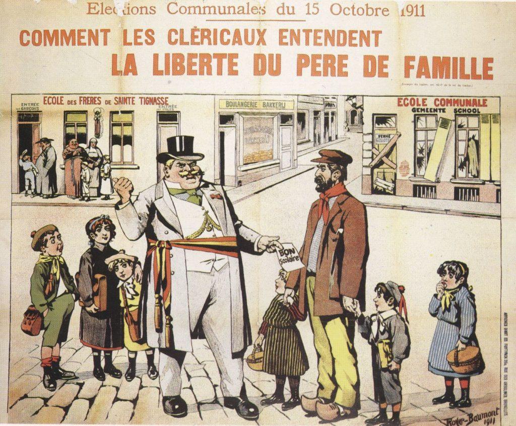 La liberté du choix du père de famille dans l'enseignement, en Belgique en 1911 vu par le dessinateur de presse Royer Baumont.